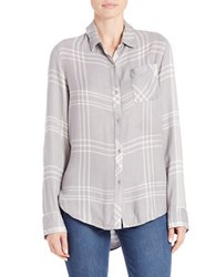 Ck Calvin Klein Plaid Hi Lo Shirttail Shirt