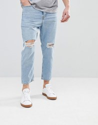 Mango Man Slim Jean With Knee Rips In Light Wash Light Blue
