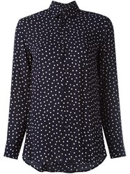 Saint Laurent Polka Dot Print Shirt Blue
