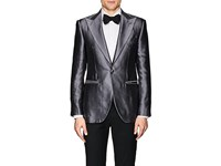 Cifonelli Montecarlo Silk Satin One Button Tuxedo Jacket Silver