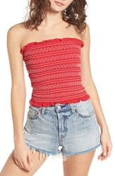 The Fifth Label Riverine Smock Strapless Top Cherry Red