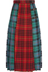 Gucci Pleated Tartan Wool Midi Skirt Red