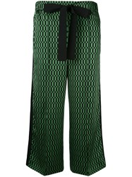 Fendi Geometric Print Cropped Trousers Women Silk Cotton Viscose 44 Green