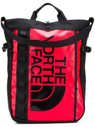 The North Face Printed Logo Backpack Red