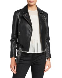 Emporio Armani Leather Zip Front Biker Jacket Black