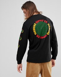 Diamond Supply Co. Long Sleeve T Shirt With Spiral Sleeve Print In Black Black