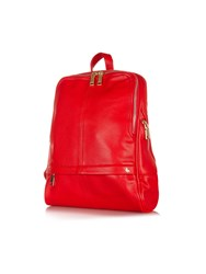 Yumi Zip Pocket Faux Leather Backpack Red