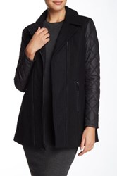 Andrew Marc New York Faux Leather Trim Wool Blend Jacket Black