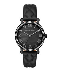 Michael Michael Kors 38Mm Norie Pave Watch W Quilted Leather Strap Black