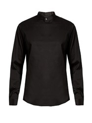 Wooyoungmi Stand Collar Panelled Front Shirt Black