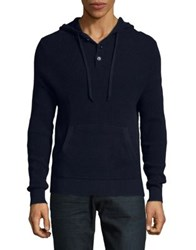Brooks Brothers Cotton Henley Hoodie Blue