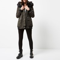 River Island Womens Petite Khaki Green Hooded Parka