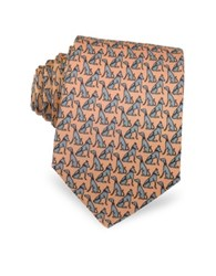 Laura Biagiotti Dogs Print Silk Narrow Tie Light Pink
