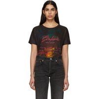 Balmain Multicolor Linen Graphic Logo T Shirt