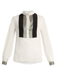 Zeus Dione Agave Panelled Silk Crepe Shirt Ivory