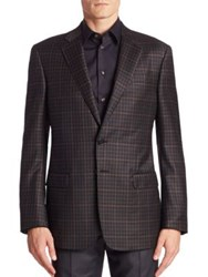 Giorgio Armani Model Checked Sport Coat Grey Black
