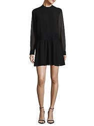 Marchesa Long Sleeve Button Down Dress Caviar