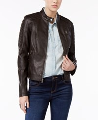 Levi's Faux Leather Biker Jacket Dark Brown