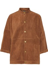 Current Elliott The Tassled Oversized Chore Suede Jacket Camel