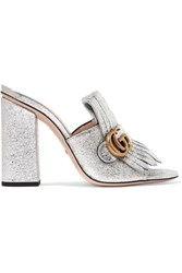 Gucci Marmont Fringed Metallic Cracked Leather Mules Silver