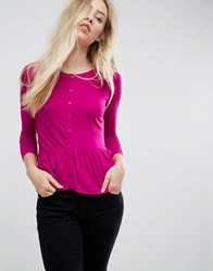 Brave Soul Top With Button Front And Ruffle Hem Fuschia Pink