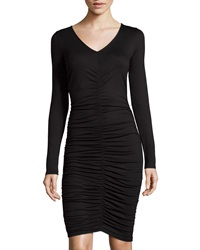 Three Dots Long Sleeve Ruched Dress Black