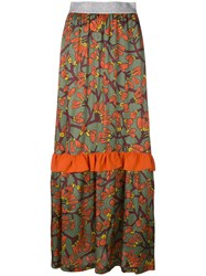 I'm Isola Marras Floral Print Long Ruffle Skirt Multicolour