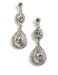Givenchy Pave Crystal Drop Earrings Crystal Silver