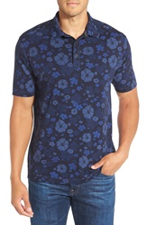 Tommy Bahama 'Hawaii By Night Spectator' Floral Print Pima Cotton Polo Midnight Blue