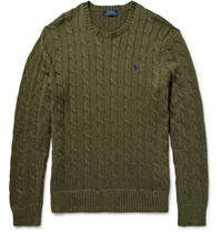 Polo Ralph Lauren Cable Knit Cotton Sweater Army Green