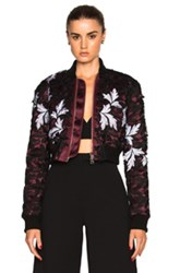 Self Portrait Cropped Bomber Jacket In Black Red Floral Black Red Floral
