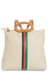 Clare V. Marcelle Leather Backpack Ivory Cream Micro Perf Stripe