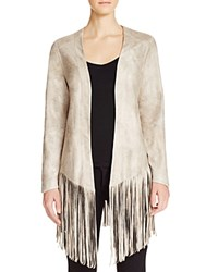 Dylan Gray Stowe Fringe Faux Suede Jacket Taupe