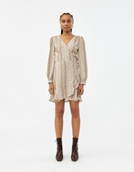 Farrow Marie Wrap Dress In Taupe Python Leopard Taupe