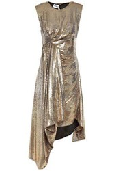 Ainea Woman Open Back Draped Sequined Woven Dress Gold