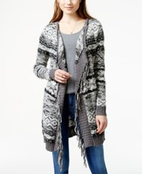 American Rag Striped Fringed Long Cardigan Sweater Only At Macy's Black Stripe