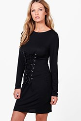 Boohoo Isabelle Corset Lace Up Bodycon Dress Black