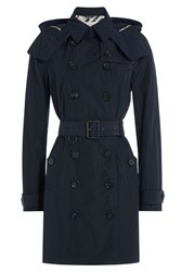 Burberry Brit Waterproof Trench Coat With Hood Blue
