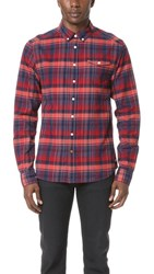 Scotch And Soda Lightweight Brushed Flannel Shirt Red