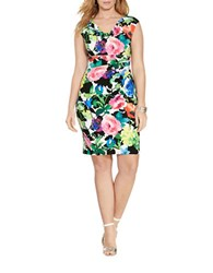 Lauren Ralph Lauren Plus Floral Cowlneck Dress Multi