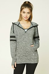Forever 21 Active Marled Knit Hoodie Charcoal Black