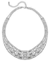 Charter Club Silver Tone Glass Stone Collar Necklace