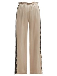 Icons Lace Trimmed Trousers Beige