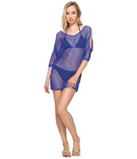 Lablanca All Meshed Up Cold Shoulder Tunic Cover Up Sapphire Women's Swimwear Blue