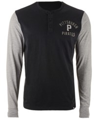 47 Brand '47 Men's Pittsburgh Pirates Downfield Henley Long Sleeve T Shirt Black Gray