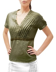Julia Cocco' Green Button Front Short Sleeve Linen Tunic
