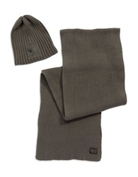G Star Ribbed Scarf And Beanie Set Grey