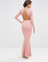 Missguided Long Sleeve Open Back Maxi Dress Blush Pink
