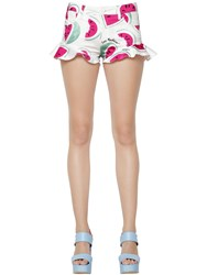 Love Moschino Watermelon Printed Cotton Satin Shorts