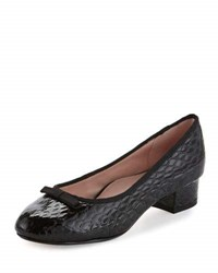 Taryn Rose Freed Embossed Leather Ballerina Pump Black Pattern